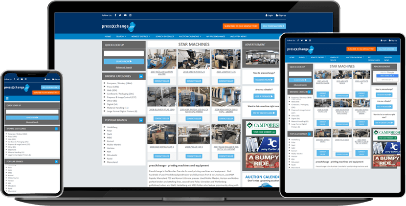 PressXchange is the World's Largest & Foremost Online Marketplace for preowned, refurbished, and reconditioned printing, pre-press, and post-press machinery.
